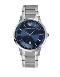 Emporio Armani Mens Stainless Steel Bracelet Watch With Blue Dial Silver