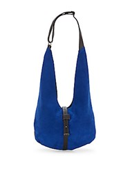 Halston Suede And Leather Hobo Cobalt