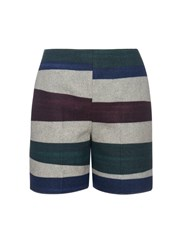 Carven Striped Wool Blend Shorts