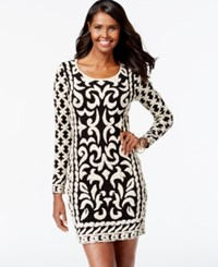 Inc International Concepts Petite Baroque Pattern Knit Sweater Dress Only At Macy's Black Gold