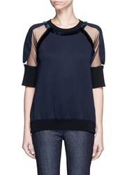 Stella Mccartney Mesh Sleeve Fringed Bonded Jersey T Shirt Blue