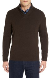 Nordstrom Men's Big And Tall Men's Shop Shawl Collar Cashmere Pullover Brown Seal
