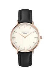 Topshop The Bowery White And Black Rose Gold Watch By Rosefield Black