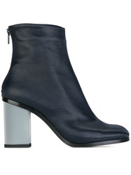 Marios Block Heel Booties Blue