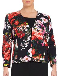 Tahari By Arthur S. Levine Plus Floral Open Front Blazer Navy Red