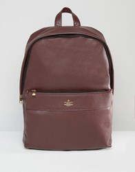 Asos Backpack In Burgundy With Gold Emboss Burgundy Red
