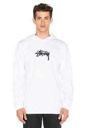 Stussy Marker Stock Hooded L S Tee White