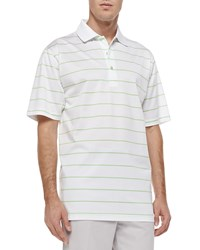 Peter Millar Alex Striped Short Sleeve Polo White Green