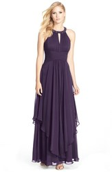 Eliza J Women's Embellished Tiered Chiffon Halter Gown Purple
