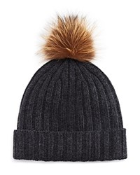 Bloomingdale's The Men's Store At Ribbed Faux Fur Pom Hat Charcoal W Natural Pom