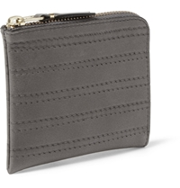 Comme Des Garcons Stitch Embossed Half Zip Leather Wallet Gray