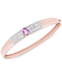 Macy's Amethyst 1 1 5 Ct. T.W. And Diamond Accent Greek Key Bangle Bracelet In Silver Plated Brass Or 18K Rose Gold Over Silver Plated Brass