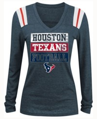 5Th And Ocean Women's Houston Texans Triple Threat Long Sleeve T Shirt Navy