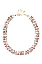 Natasha Accessories Double Row Crystal Necklace Pink