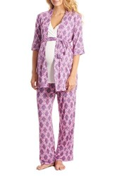 Everly Grey Women's Roxanne During And After 5 Piece Maternity Sleepwear Set India Floral