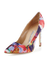 Manolo Blahnik Bb Floral Print Fabric 105Mm Pump Pink Women's Pink Floral