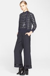 Marc Jacobs Sequin Embellished Jacquard Knit Wool Cardigan Blue