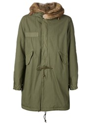 Mr And Mrs Italy Mink Fur Hooded Parka Green