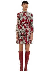 Valentino Short Floral Printed Flared Cuff Dress