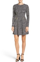 Michael Michael Kors Women's 'Norfolk' Print Long Sleeve Fit And Flare Dress