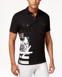 Inc International Concepts Men's Artemisa Metallic Graphic Print Pocket Polo Only At Macy's Deep Black
