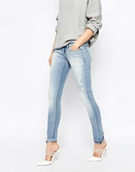 Cheap Monday Slim Low Rise Jeans With Distressing Blue
