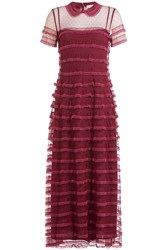 Red Valentino Tiered Lace Maxi Dress Purple