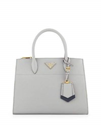 Prada Saffiano Greca Medium Double Zip Galleria Tote Bag Light Gray