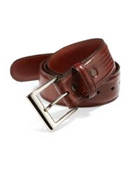 Saks Fifth Avenue Lizard Belt Cognac Black