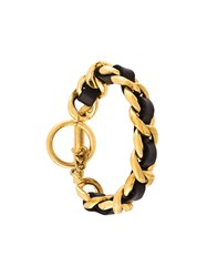 Chanel Vintage Leather Chain Bracelet Metallic