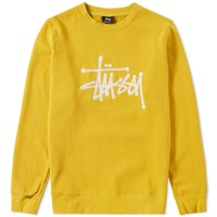 Stussy Chain Stitch Applique Crew Sweat Yellow