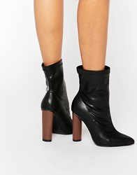 Truffle Collection Contrast Heel Boot Black Pu