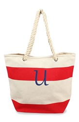 Cathy's Concepts Personalized Stripe Canvas Tote Red Red U