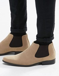 Asos Chelsea Boots In Stone Faux Suede Stone