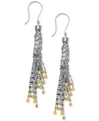 Macy's Sterling Silver And 14K Gold Over Sterling Silver Earrings Beaded Fringe Drop Earrings