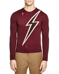 Marc Jacobs Flash Destroyed Wool Sweater Wine Combo