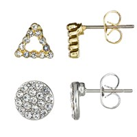 John Lewis Pave Double Back Stud Earrings Pack Of 2 Silver Gold