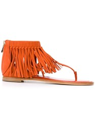 Tod's Fringed Sandals Yellow And Orange