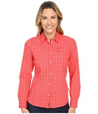 Jack Wolfskin Centaura Flex Shirt Hibiscus Red Checks Women's Clothing Pink