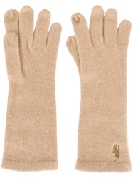 Polo Ralph Lauren Embroidered Logo Gloves Nude And Neutrals