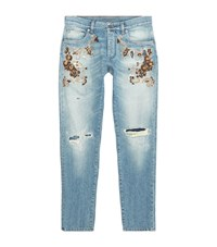 Dolce And Gabbana Embellished Ripped Knee Slim Leg Jeans Male Blue