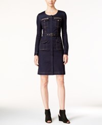 Inc International Concepts Petite Zip Front Denim Dress Only At Macy's Indigo