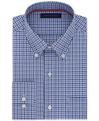 Tommy Hilfiger Men's Classic Fit Non Iron Dark Blue Check Dress Shirt