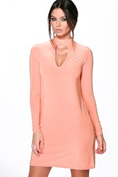 Boohoo Long Sleeve High Neck Cut Out Dress Salmon