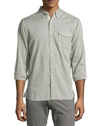 Ag Adriano Goldschmied Signature Woven Cotton Shirt Khaki Olive
