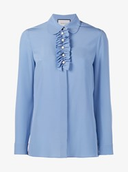Gucci Silk Shirt With Front Ruffle And Pearl Buttons Blue Pearl Cornflower Blue Black