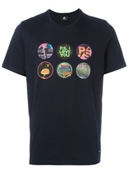 Paul Smith Ps By 'Badges' Print T Shirt Blue