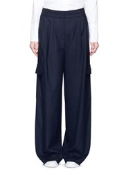 Tibi 'Owen' Brushed Twill Wide Leg Cargo Pants Blue