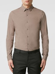 Topman Taupe Stretch Long Sleeve Smart Shirt Brown