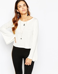 Kiss The Sky Top With Fluted Sleeves White